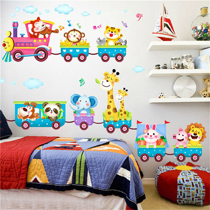 Lovely Cartoon Animal Monkey Giraffe Train Famous Brand Ethylene Wall Movable Label Mural Art Baby Room Decoration XY3013
