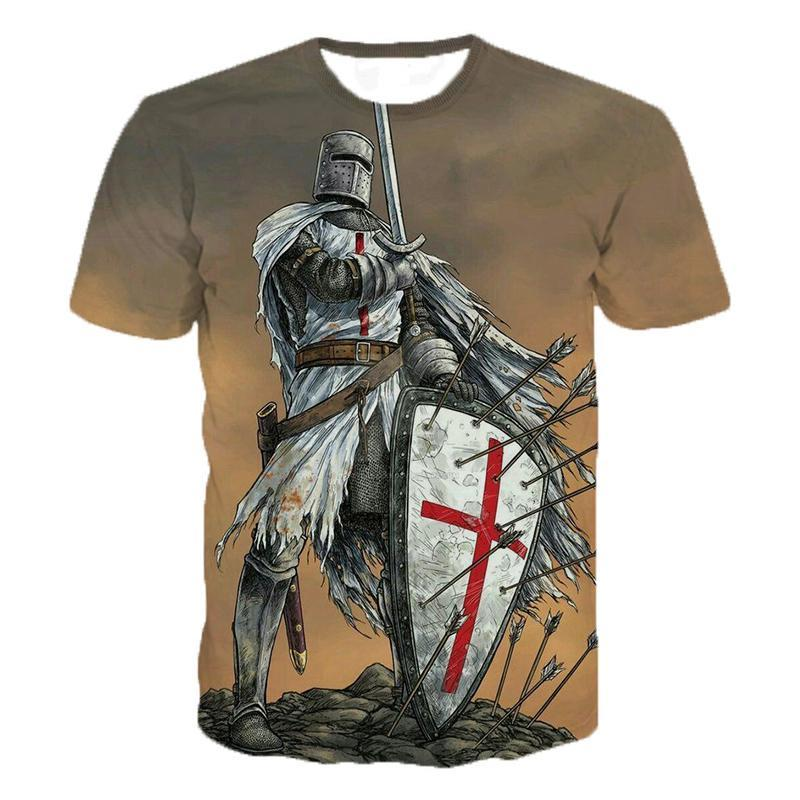 Knights Templar 3d Print T Shirt Knights Templar Fashion Casual T-Shirts Men Women Hip Hop Harajuku Streetwear T Shirt Tee Tops