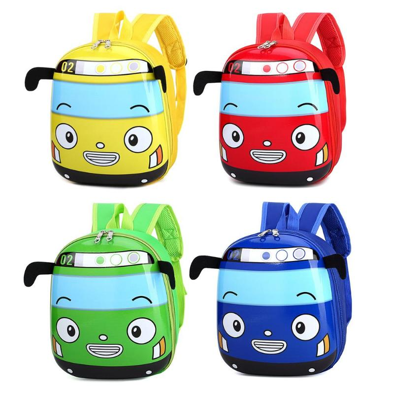 Cute 3D Cartoon Bus Kindergarten Children School Bag Nylon Knapsack Toddler Girls Boys Outdoor Travel Backpack Gift