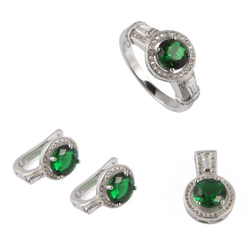 SHUNXUNZE set di gioielli di Lusso delle donne di Fidanzamento di cerimonia nuziale set (anello/orecchino/pendente) peridot Cubic Zirconia Rhodium Placcato R3191Dset