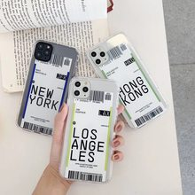 New York Seoul Label Bar code Case For Apple iPhone 11 Pro X XS Max XR 7 8 plus Losangeles fashion 3D clear TPU white city Cover(China)