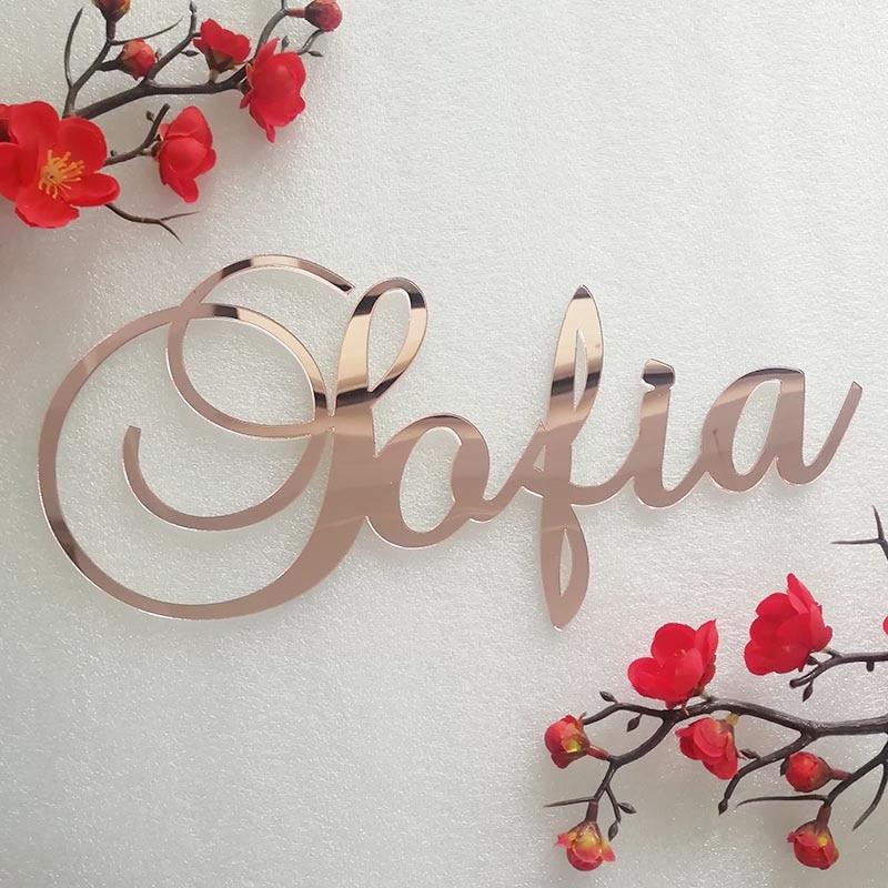 Custom Mirror Rose Gold Baby Name Sign
