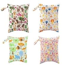 Baby Diaper Bags Zippered Animal Print Wet/Dry Bag Waterproof Wet Cloth Diaper Backpack Reusable Diaper Cover Wet Bag 30*40 CM