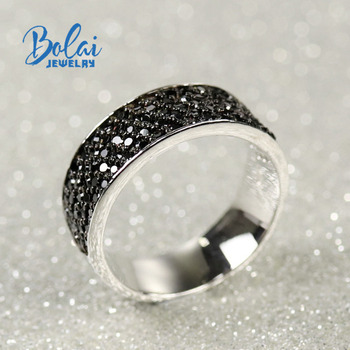 Bolai jewelry, 925 sterling silver natural gemstone black spinel ring,for any occasion to wear fine fashion accessories