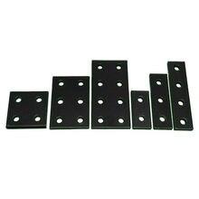 Placa de junta negra, soporte rectangular, de perfil de aluminio sin placa de conexión pernos y tuercas, 2 unids/lote