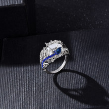 Fashion Women Lady Elegant Huge Moonstone Wedding Party Bride Ring Engagement Blue Rhinestone Crystal Rings Jewelry(China)