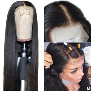Image 1 - 360 Lace Frontal Wig Pre Plucked With Baby Hair Peruvian Straight Remy 13x4 Lace Front Human Hair Wigs 4x4 Lace Closure Wig