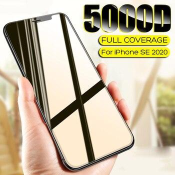 Перейти на Алиэкспресс и купить Изогнутое закаленное стекло 5000D с полным покрытием для iPhone SE 2020, Защитное стекло для экрана iPhone 11 Pro X XR XS MAX