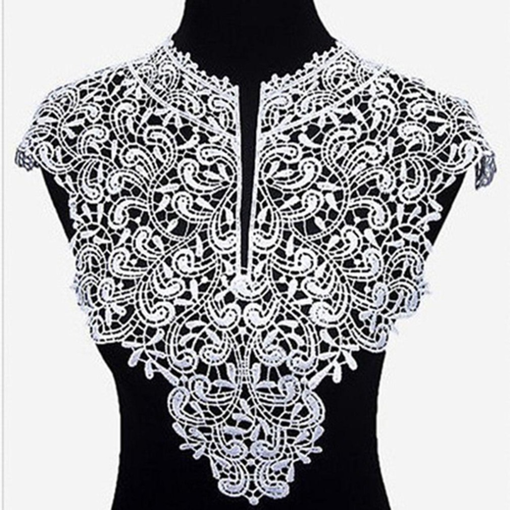 Hot Sale Lace Applique For Needlework Collar Neckline DIY Accessories Fake Collar Embroidery Big Flowers Lace Sewing Supplies