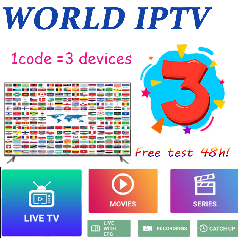3 Devices 8000 World IPTV M3U Live Iptv Subscription USA UK  Spanish For Android Iptv M3u Enigma2 TV Box PC Support