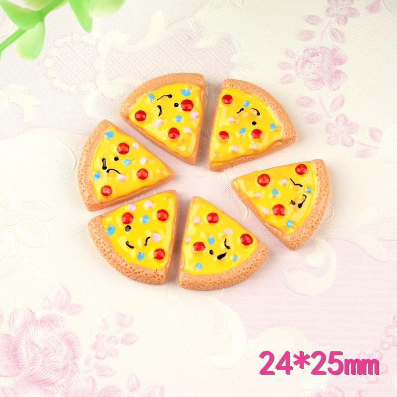 10pcs 24*25mm Kawaii Resin Cabochon Cute Food Pizza Shape Flatback Clay Beads Charm Pendant Meterial Ornament Decoration
