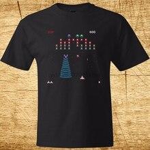 Galaga Arcade Game Retro Gamer Classic Mens Black T Shirt Size S 3Xl 100% Cotton O Neck T Shirts Male Low Price Steampunk