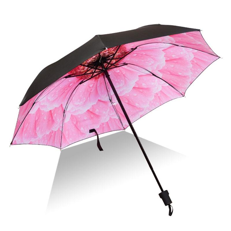 Women Floral Umbrella Folding Waterproof UV Sun Umbrella Flower Umbrella Mini Sunny Parasol Lady Travel Umbrellas
