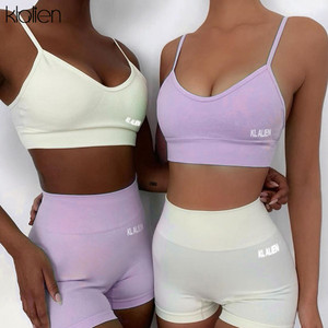 KLALIEN sexy casual camisole and pants 2 piece set womenswear fitness outfit sportswear summer beach cotton tracksuit women