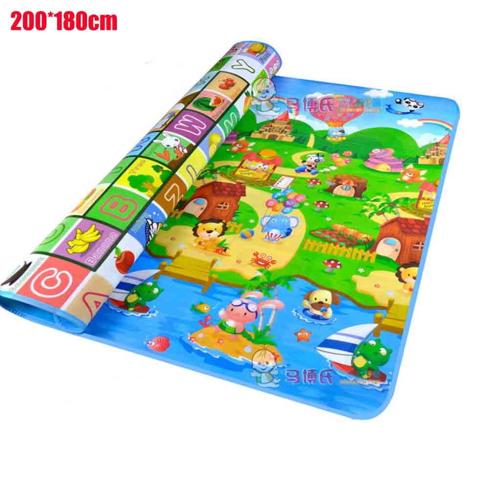 Ocean 2 1 8m Baby Play Mat Baby Carpet Soft Floor Kids Baby Playmat Outdoor Carpet Child Baby Crawling Mat Sided Pattern Animal in Play Mats from Toys Hobbies