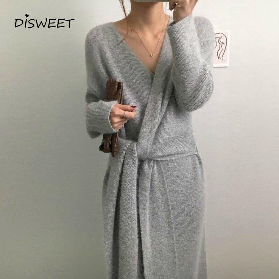 Version coréenne de la ceinture pull femmes vêtements mode à manches longues femmes col en v robe en tricot chaud automne robes épaisses 2019