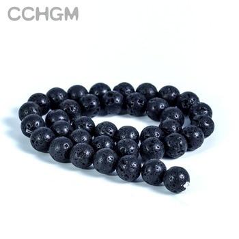 2020 DIY Black Volcanic Lava Beads Lava Stone Beads Round Volcanic-Stone Wholesale Natural Stone Beads for Jewelry Making natural black custom name lava