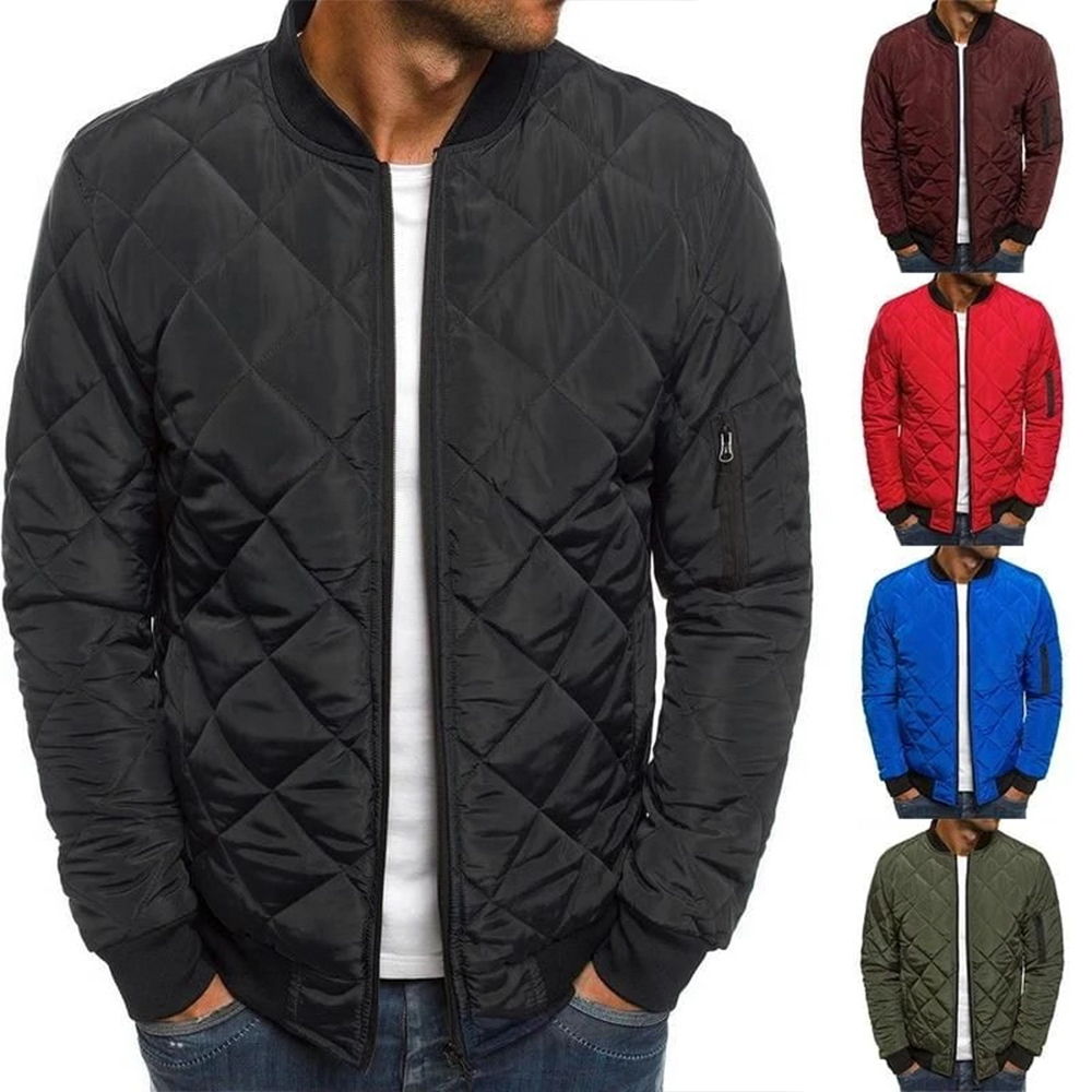 Men Solid Bomber Jacket Classic Zipper Light Weight Warm Jacket Outdoor Diamond Coat Slim Fit Softshell Windbreaker Jacket