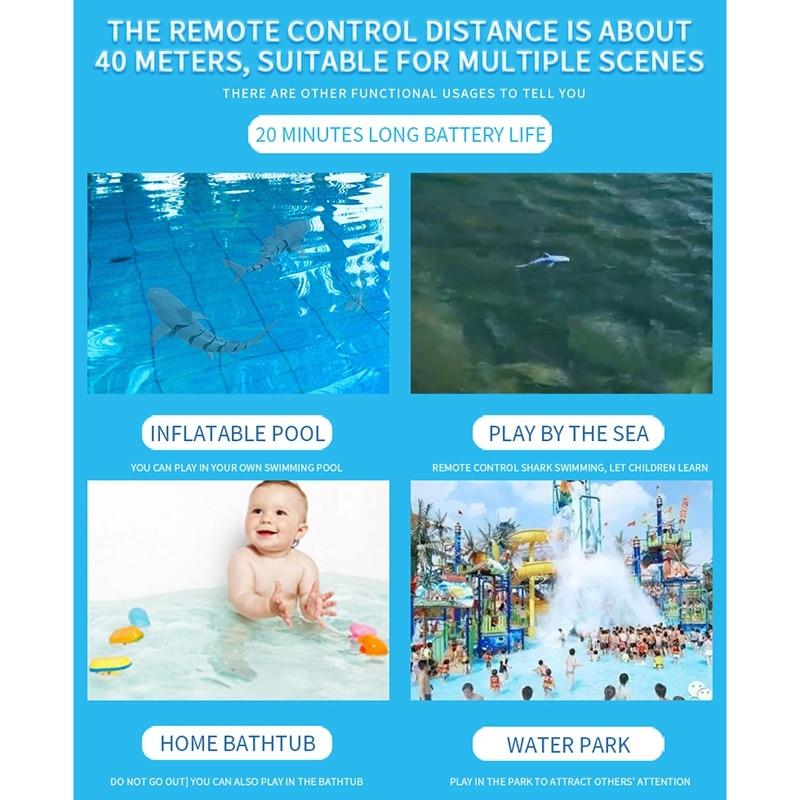 2.4g controle remoto analógico tubarão barco brinquedo