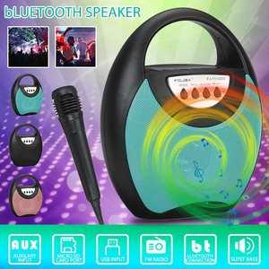 Luz led sem fio bluetooth portátil alto-falante recarregável festa karaoke máquina suporta tf cartão usb fm com microfone