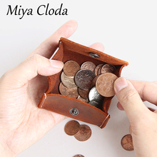 Handmade retro men's short mini coin purse crazy horse leather buckle coin purse leather wallet  clear purse