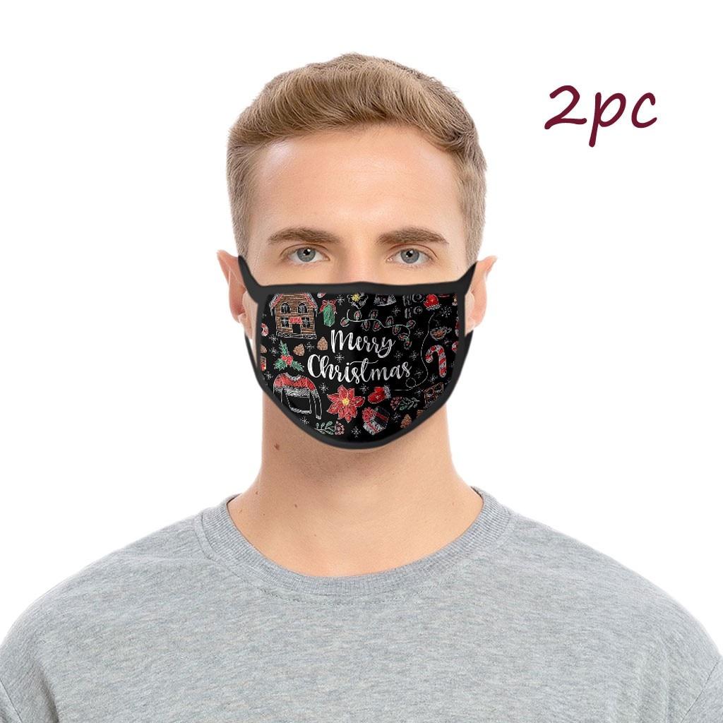 Adultes lavable noël 3d imprimé drôle Masque facial femmes hommes anti-poussière réutilisable protecteur visage bouclier brumeux brume Pm25 Masque