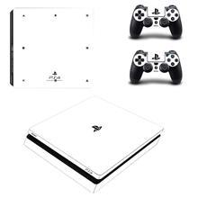 ملصقات لجهاز PS4 Slim Play station 4 ، أبيض نقي ، ملصقات لوحدة تحكم PlayStation 4 ، غطاء رفيع ووحدة تحكم