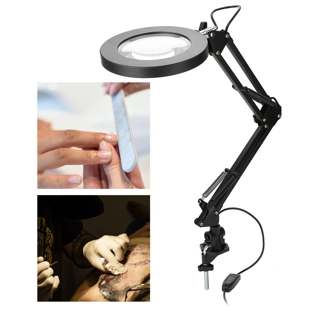 Clamp Mount LED Tattoo Magnifier Lamp Beauty Nail Salon 5X Magnifying Glass Lamp Eyeliner Manicure Tattoo Desk Table Light New