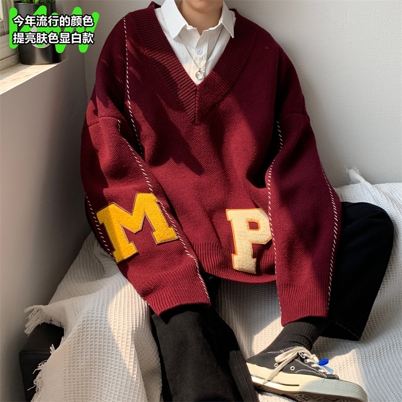 2019 Winter Men's Woolen Knitting Casual Cashmere Sweater Keep Warm V Collar Loose Pullover Apricot/wine Red Clothes Coats S-XL