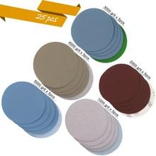 25 pçs 1 /2/3/4/5 Polegada sortidas lixa gancho e laço disco de lixa 1000 #/2000 #/3000 #4000 #5000 # grits para lixar polimento