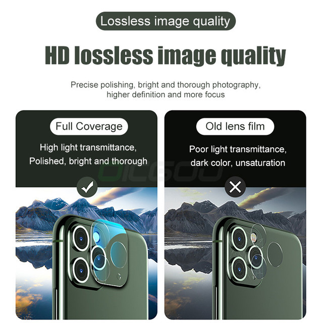 3PCS Camera Lens Tempered Glass For iPhone 11 12 Pro XS Max X XR Screen Protector On For iPhone 11 7 8 6 6S Plus SE Camera Glass 3