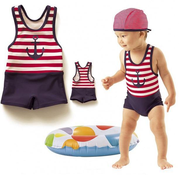 CHILDREN'S Swimsuit Orders Exported To Japan Boys' Cotton One-piece Swimsuit Cool Sailor Bathing Suit + Swim Cap