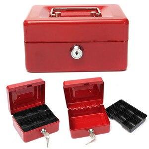Image 2 - Praktische Mini Petty Cash Money Box Edelstahl Sicherheit Schloss Abschließbar Sicher Kleine Fit für Haus Dekoration 3 Größe