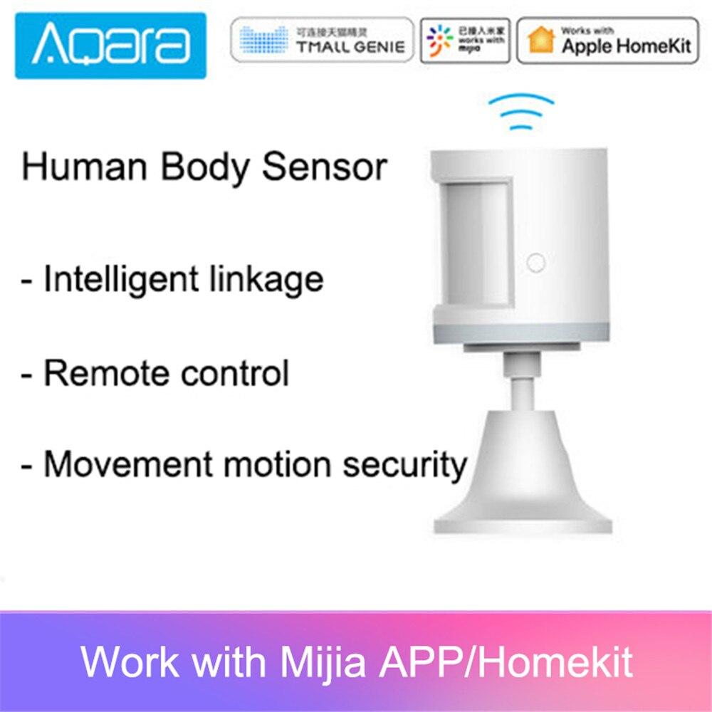 Sensor de cuerpo humano inteligente Original Aqara ZigBee MiHome APP conexión de seguridad para hogar sistema de alarma Mini inalámbrico PIR Detector de movimiento