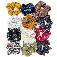12 шт./лот, Мягкий Шифоновый бархатный эластичный атласный шарф для волос, резинка для волос, цветочный держатель, эластичная резинка для волос, аксессуары для волос#43