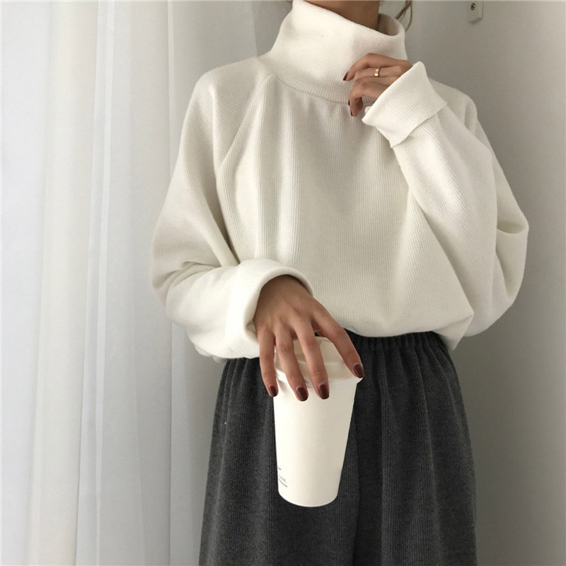 AECU Women Sweater Casual Loose Turtleneck Knitted Jumpers For Women Long Batwing Sleeve Crocheted Pullovers Streetwear Winter