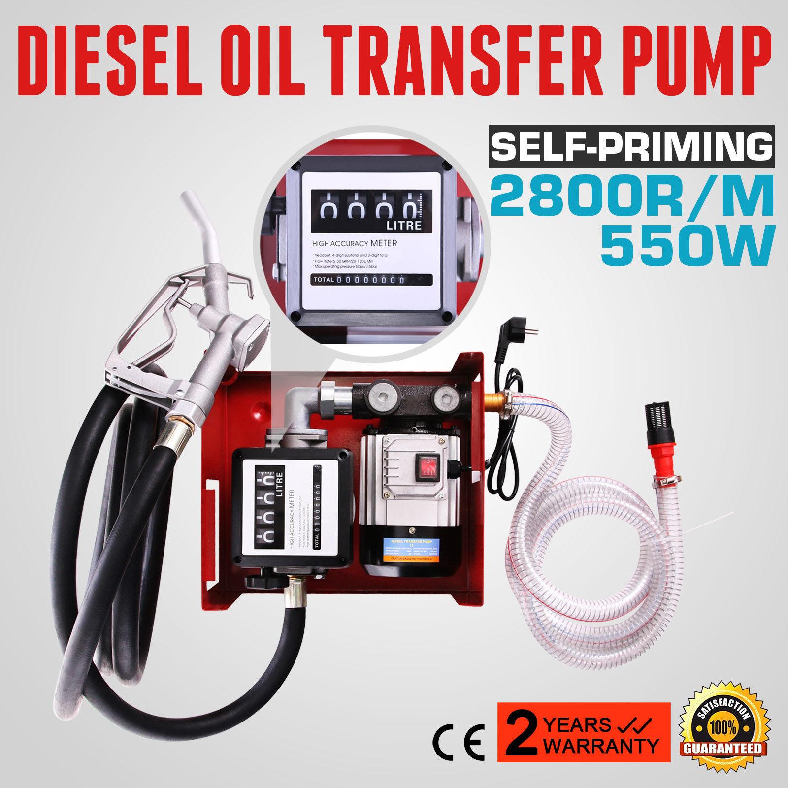 550W Self Priming Electric Oil Pump Transfer Bio Fuel Oil Diesel 220v 60L/Min Built-in Bypass Valve Low Voltage