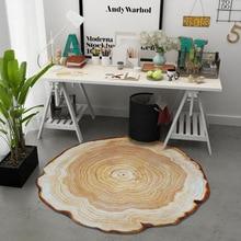 Simanfei Wood Round Carpet Anti-slip Texture Retro Decorative Living Room Rug Yoga Mat Bedroom Floor Mat Office Chair Area Rugs недорого