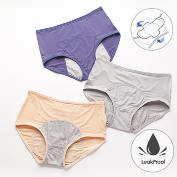 Leak Proof Menstrual Panties Physiological Pants Women Underwear Period Cotton Waterproof Briefs Plus Size Female Lingerie image