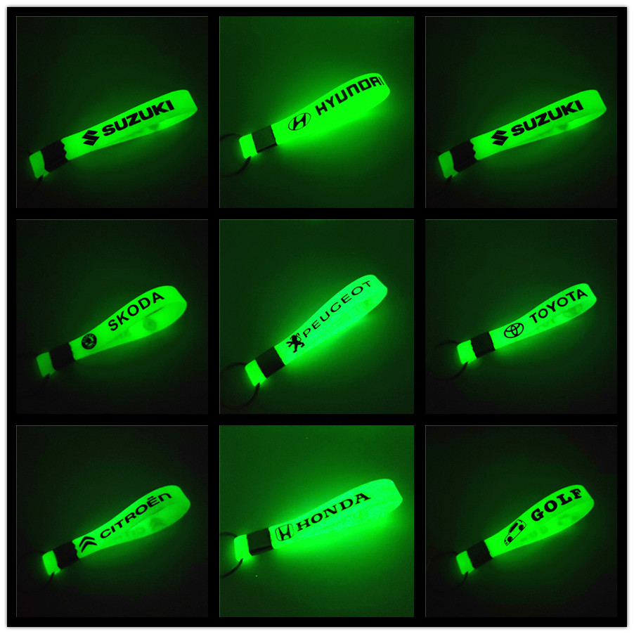 Luminous Car Keyring Keychain Sticker For Renault Megane 2 3 Duster Volkswagen VW Polo Golf 4 5 6 7 Beetle MK1 Toyota Ford Audi