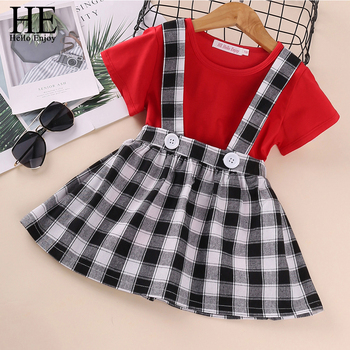 HE Hello Enjoy Kids Clothes Baby Girls Clothing Sets Summer New Red Short-Sleeve T-shirt + Plaid Strap Skirt 2-pc Princess Suit