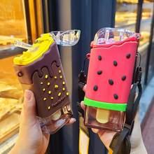 Nowe letnie słodkie pączki lody butelka ze słomką wody kreatywny kwadratowy kubek arbuza przenośna szczelna butelka z tritanu BPA za darmo