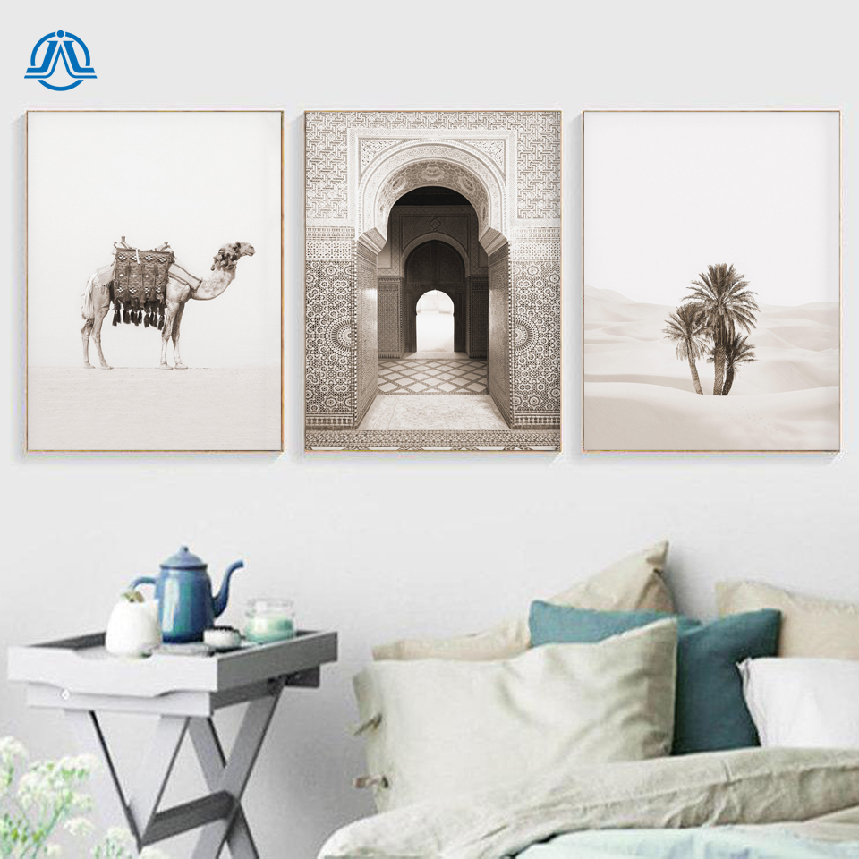 Morocco Door Camel Desert Coconut Palm Wall Art Canvas Painting Nordic Posters And Prints Wall Pictures For Living Room Decor
