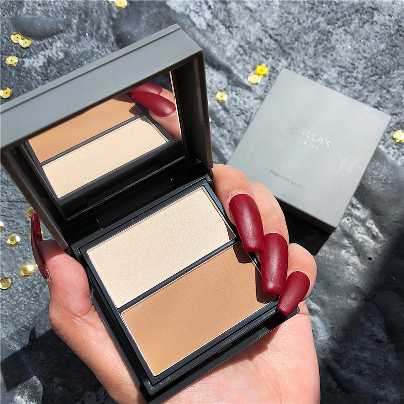 Rosto maquiagem highlighter paleta shimmer contorno brilhante