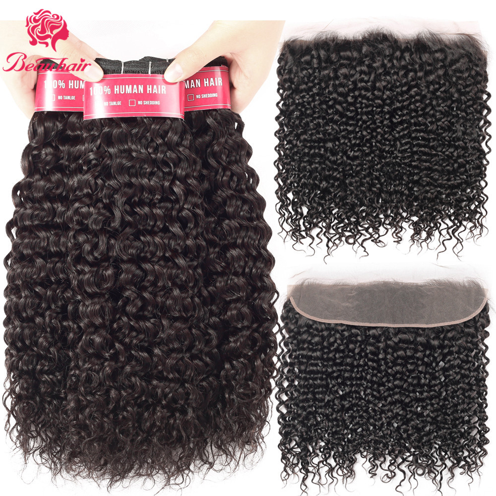 Beau Hair Brazilian Curly Human Hair Weave Bundles With 13*4 Lace Frontal Closure Free Part Remy Closure Human Hair Extensions