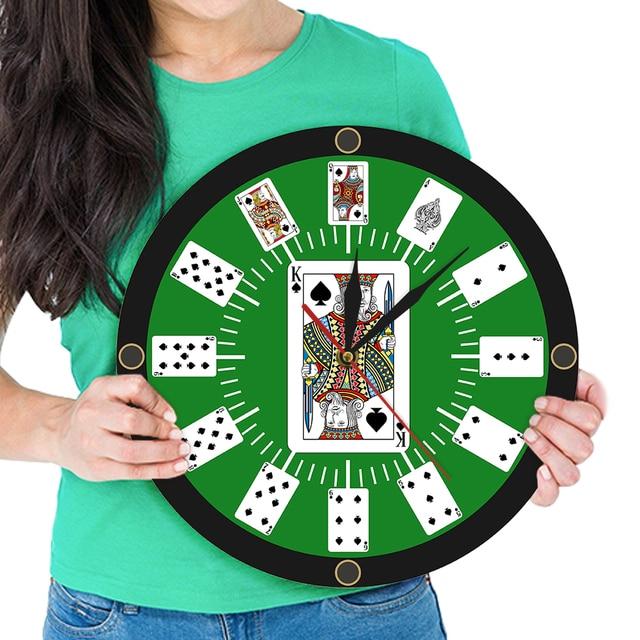 Texas Poker Casino jeu horloge murale Poker pont chambre décor horloges cartes à jouer jeu Design horloge