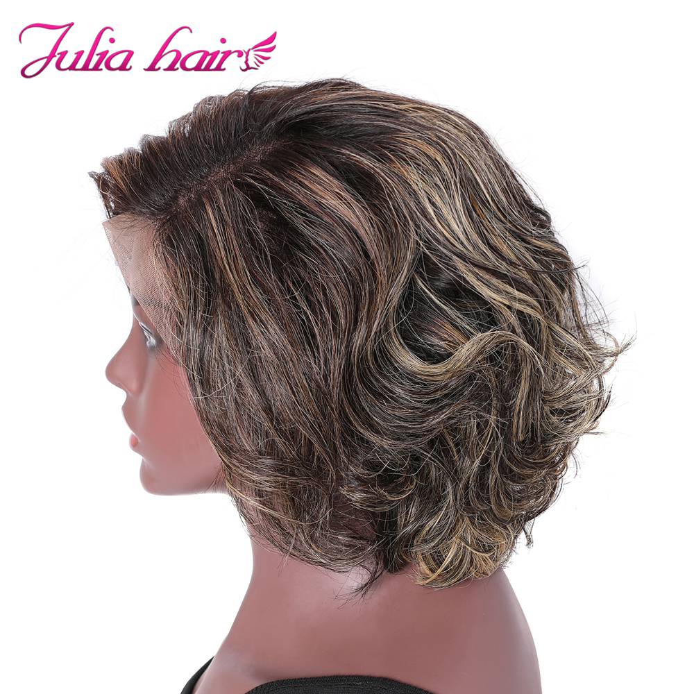 Peruvian Highlight Wavy Bob Lace Front Wig Pre Plucked 8 Short Bob Ombre Lace Wig Ali Julia Wavy Human Hair Wig with Baby Hair (3)