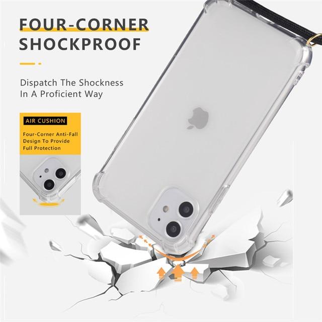 Luksusowe przezroczysty przezroczysty futerał na telefon Crossbody naszyjnik smycze przewód z liny dla iphone 6 6S 7 8 Plus X XR XS 11 Pro Max okładka