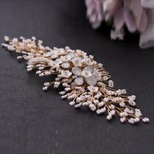 TRiXY H279-г нежный цветочный свадебный волосы расческой бисероплетение необычные Кристалл PIN свадебные ювелирные изделия тиара