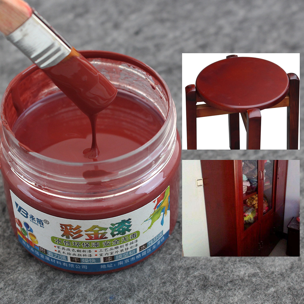 Date Red Golden Paint For Wood Surface Coating Acrylic Paint Mildewproof Tasteless Water-based Paint Furniture Wood Protection